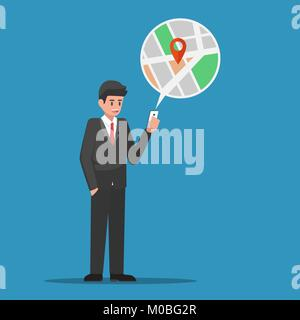 Businessman find location in map application on smartphone. Business and technology concept. - Stock Photo