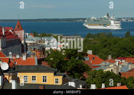 Tallinn, Estonia - June 10, 2017: Cruise liner Navigator Of The Seas departs from the port. The ship owned by Royal - Stock Photo
