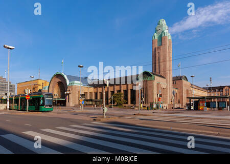 Helsinki, Finland - August 21, 2016: Central railway station in a summer morning. The station building was designed - Stock Photo