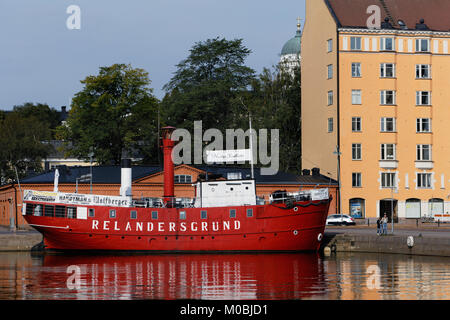 Helsinki, Finland - August 21, 2016: Cafe on the retro lightship Relandersgrund at the North Beach. The ship was - Stock Photo