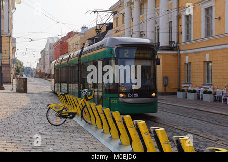 Helsinki, Finland - August 21, 2016: Tram in the city center. The Helsinki system is one of the oldest electrified - Stock Photo