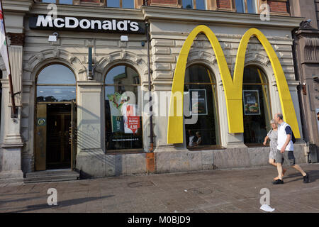 Helsinki, Finland - August 21, 2016: People in front of McDonald's restaurant at the shopping mall Forum. First - Stock Photo