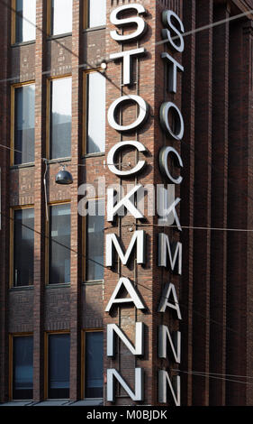 Helsinki, Finland - August 21, 2016: Label on the Stockmann department store in the downtown. Completed in 1926, - Stock Photo