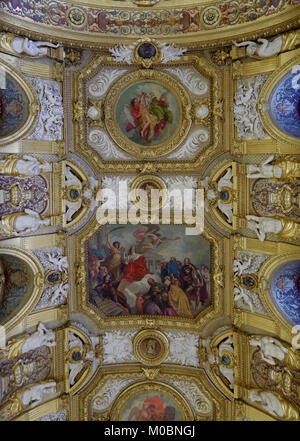 Paris, France - September 14, 2013: Ceiling of Salle des Conferences in the Luxembourg Palace. The palace was originally - Stock Photo