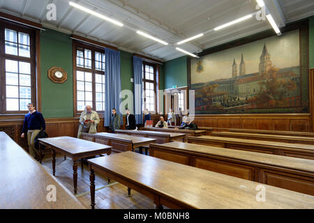 Paris, France - September 14, 2013: People in the auditorium of Sorbonne university during European Heritage Days. - Stock Photo