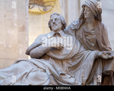 Paris, France - September 14, 2013: Richelieu's marble cenotaph in the Chapelle de la Sorbonne. The monument created - Stock Photo