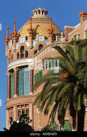 Barcelona, Spain - January 9, 2013: One of buildings of the Hospital de la Santa Creu i Sant Pau. Built between 1901 and 1930 by design of Lluis Domen