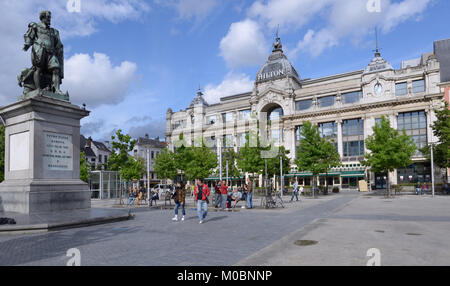 Antwerp, Belgium - June 23, 2013: People on the Groenplaats in front of monument to Pieter Paul Rubens and the Hilton - Stock Photo