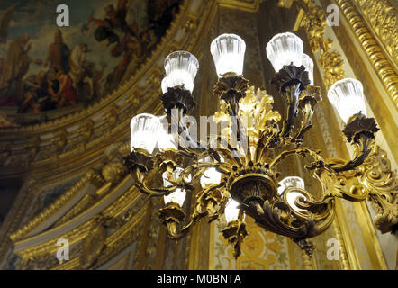 Paris, France - September 14, 2013: Chandelier against the painted ceiling in the Luxembourg Palace. The palace - Stock Photo