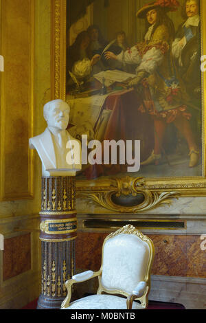 Paris, France - September 14, 2013: Bust of Raymond Poincare in the Luxembourg Palace. The palace was originally - Stock Photo