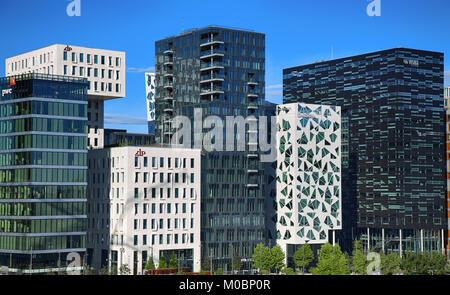 OSLO, NORWAY – AUGUST 17, 2016: View of The modern Oslo business district Bjorvika on Dronning Eufemias gate street. - Stock Photo