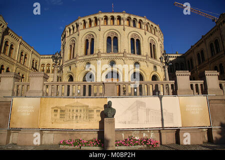 OSLO, NORWAY – AUGUST 17, 2016: Norwegian parliament designed by Swedish architect Emil Victor Langlet. Stortinget - Stock Photo