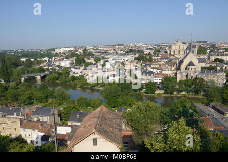 Poitiers, France - June 26, 2013: View to the city and Clain river from the Cornet street. The city is the capital - Stock Photo