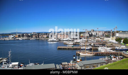 OSLO, NORWAY – AUGUST 17, 2016: View of panorama on Oslo Harbour from Akershus fortress in Oslo, Norway on August - Stock Photo