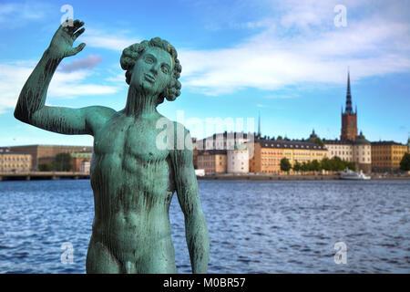 Sweden, Stockholm, Song statue, Stadshuset, bronze by Carl Eldh ...