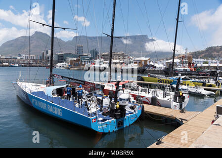 Cape Town Suth Africa. December 2017. Racing yachts Vestas and Dongfeng on the waterfront before competing in the - Stock Photo