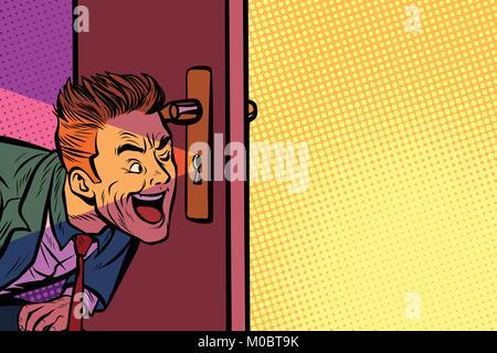 Businessman spying through the keyhole - Stock Photo