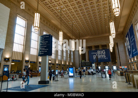 Main ticket hall in the 30th Street station in Philadelphia, Pennsylvania, United States.