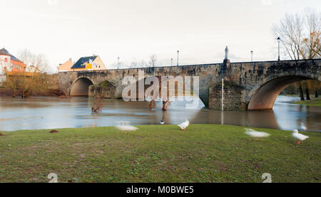 Sauer river, Echternach, Luxembourg - Stock Photo