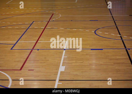 Lines Of Wooden Floor Basketball Court In The Sports Hall Stock