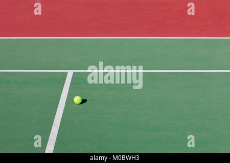 tennis court, detail off lines and a ball - Stock Photo