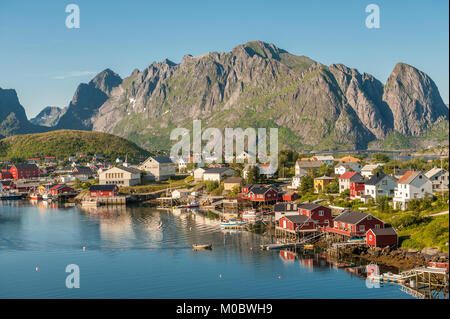 Nordic summer evening on July 4, 2011 in Reine. Reine is a picturesque fishing village and a popular travel destination - Stock Photo