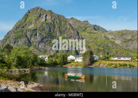 Summer landscape at Sorvagen on Lofoten islands in northern Norway - Stock Photo