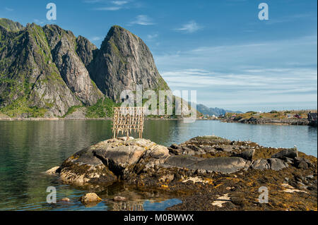 Typical drying flake for Stockfish in Lofoten, Northern Norway. Drying food is the world's oldest preservation method. - Stock Photo