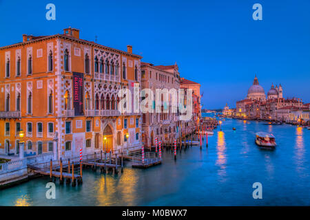 An evening view of the Grand Canal, Veneto, Venice, Italy, Europe. - Stock Photo