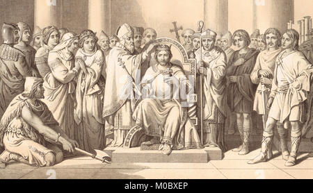Coronation of Harold Godwinson, AD 1066.  Anglo-Saxon King Harold II - Stock Photo