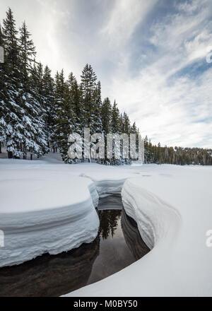 Todd Creek near Todd Lake in Winter, Deschutes National Forest, Oregon - Stock Photo