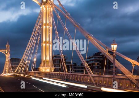Close up of the Albert Bridge - Stock Photo