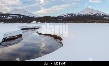 Soda Creek, South Sister, and Broken Top in Winter, Deschutes National Forest, Oregon - Stock Photo