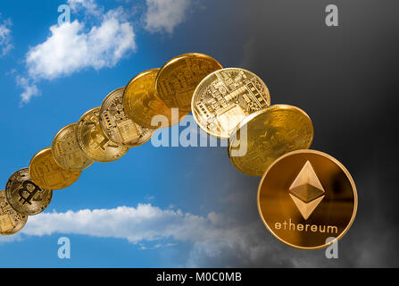 Ether and bitcoin rising and falling from the sky - Stock Photo