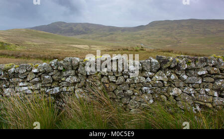 An old cobbled brick wall in the Snowdonia National Park, Wales. - Stock Photo