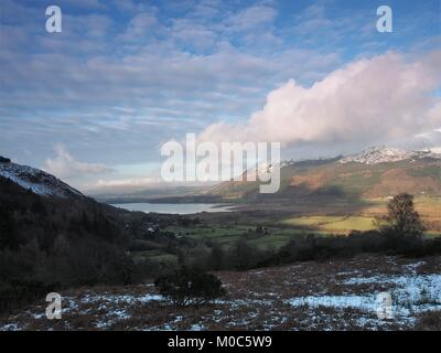 View from Whinlatter Pass towards Bassenthwaite Lake and the Skiddaw Group, Lake District National Park, Cumbria, - Stock Photo
