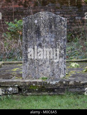 The grave of Cassandra Austen (nee Leigh) mother of Jane Austen in Chawton Hampshire - Stock Photo