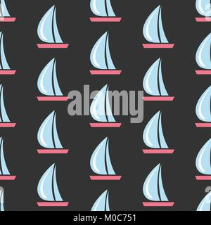 Seamless pattern with sail boats on dark background.Great for wall art design, gift paper, wrapping, fabric, textile, - Stock Photo