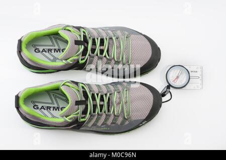 Brnenec, Czech Republic-July 9,2017: Men´s shoes Garmont 9.81 speed II for trail running, fast climbing, hiking - Stock Photo