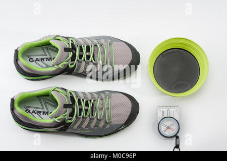 Brnenec, Czech Republic-July 9,2017: Men´s shoes Garmont 9.81 speed II for trail running, fast climbing, hiking, - Stock Photo