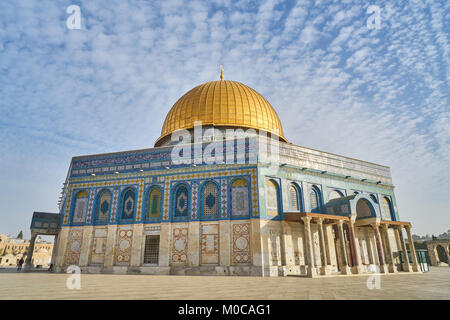 Panorama of Mosque of Al-aqsa (Dome of the Rock) on Temple Mount, Jerusalem, Israel - Stock Photo