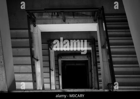 old vintage stairs in old building, up view - Stock Photo