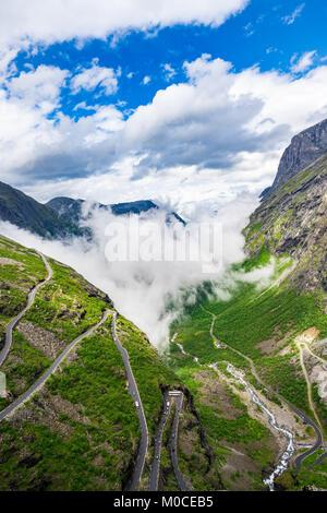 Troll's Path Trollstigen or Trollstigveien winding mountain road in Norway. - Stock Photo