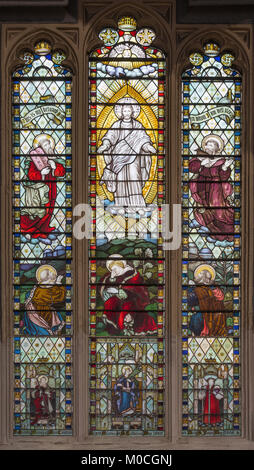 LONDON, GREAT BRITAIN - SEPTEMBER 14, 2017: The Transfiguration of the Lord on the stained glass in the church St. - Stock Photo