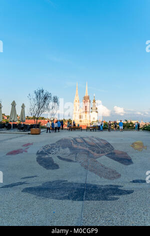 Holy Mary pillar and Zagreb Cathedral in ZAGREB, CROATIA - Stock Photo