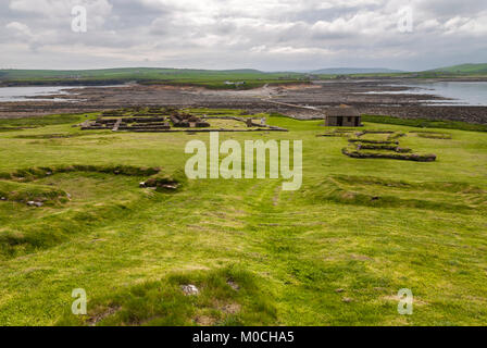 Pictish and Norse settlement remains on the Brough of Birsay, a tidal island off the coast or Orkney, Scotland. - Stock Photo