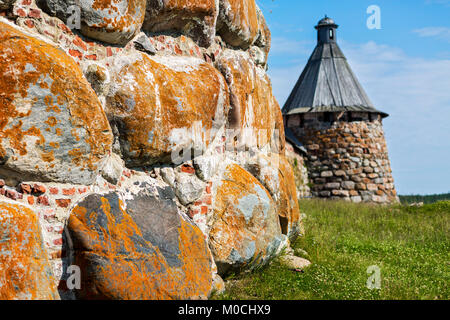 The walls of the monastery on Solovetsky island, Russia. - Stock Photo