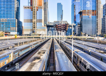 New York City, USA - October 27, 2017: Aerial view of Hudson Yards train depot, building development, High Line, - Stock Photo