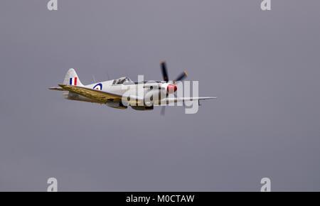 RAF Battle of Britain Memorial Flight Supermarine Spitfire PS915 performing a flypast at the 2017 Royal International - Stock Photo