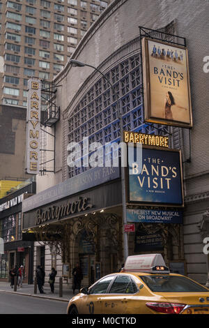 Ethel Barrymore Theatre Marquee in Times Square, NYC - Stock Photo